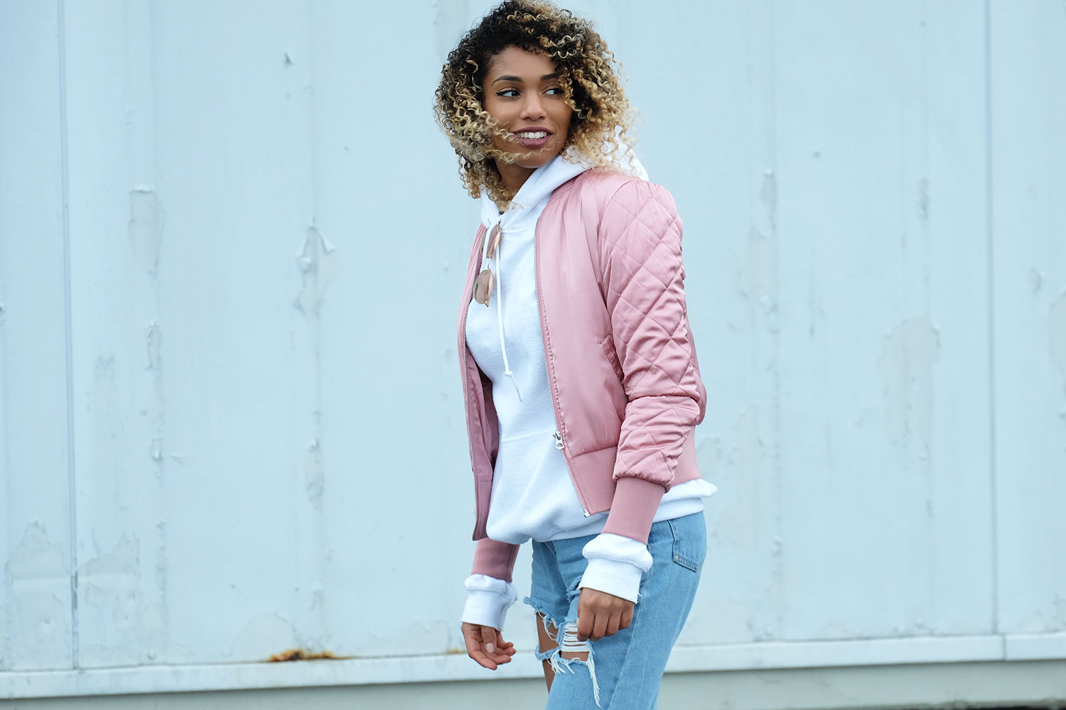 white hoodie and rose bomber let 39 s do it street style. Black Bedroom Furniture Sets. Home Design Ideas